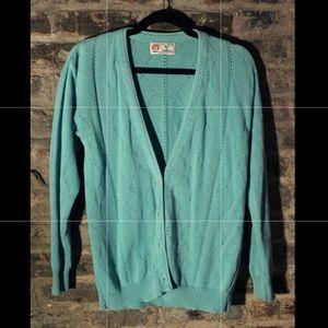 Vintage Mint Green Knit Cardigan